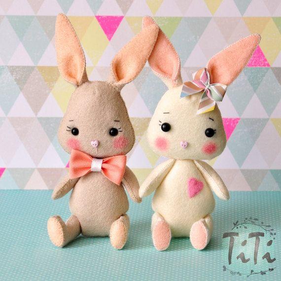 Easter cute felt bunny , Easter decor, spring decor, felt animal, Easter decoration, Felt Doll, Pocket Doll, Felt rabbit, Easter rabbit