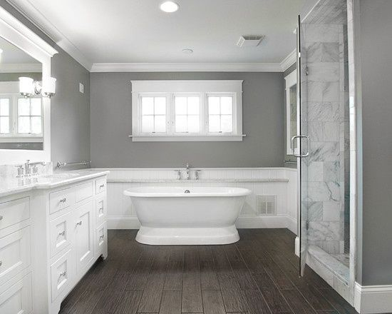 25 best ideas about dark cabinets bathroom on pinterest for Grey wood floor bathroom
