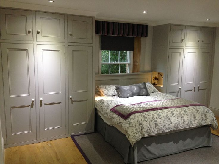 I could just jump on the bed in this grey bedroom!  Wardrobes and bedstead by Dunham Fitted Furniture.