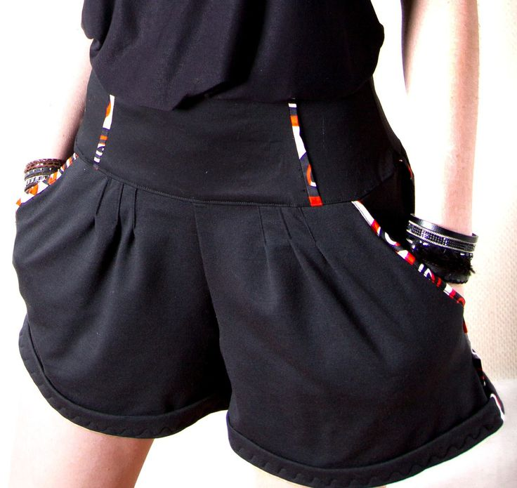 """Short pour femme """"Louna"""" noir, ceinture taille haute : Pantalons, jeans, shorts par all-by-k"""