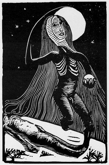 Náměsíčník, 1910 - 1911, dřevoryt užitý v knize Vigilie o hodině hrůzy, vydáno 1914