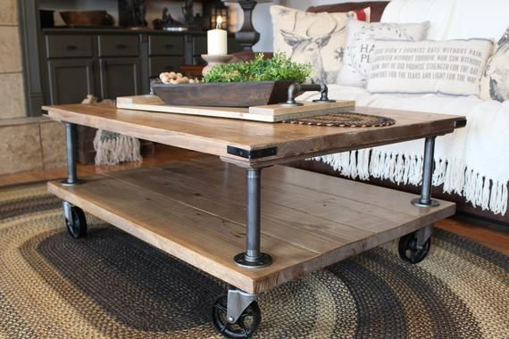 Farmhouse Industrial Coffee Table Industrial Iron And Wood Etsy Farmhouse Industrial Coffee Table Coffee Table Wood Coffee Table Farmhouse