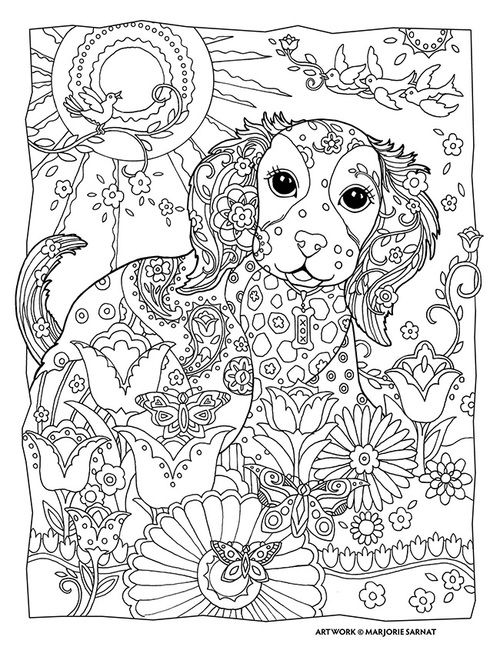 Marjorie Sarnat Design & Illustration Puppy Dog Pet Flowers Abstract Doodle Zentangle Paisley Coloring pages colouring adult detailed advanced printable Kleuren voor volwassenen coloriage pour adulte anti-stress kleurplaat voor volwassenen Line Art Black and White