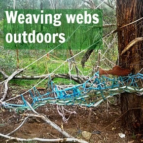 communal weaving project in the great outdoors