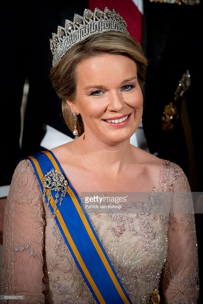 Queen Mathilde of Belgium during the official photo ahead the state banquet for the Belgian King and Queen on November 28, 2016 in Amsterdam, Netherlands. (Photo by Patrick van Katwijk/Getty Images)