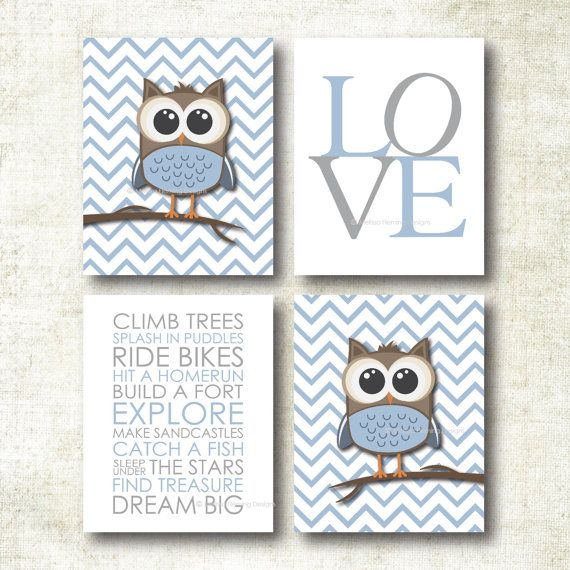 Baby Boy Nursery Art | Chevron Owl Nursery Prints | Baby Nursery Decor | Playroom Rules Quote Art Print Set (K36)