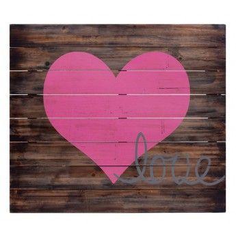 Pink Heart Wooden Wall Art