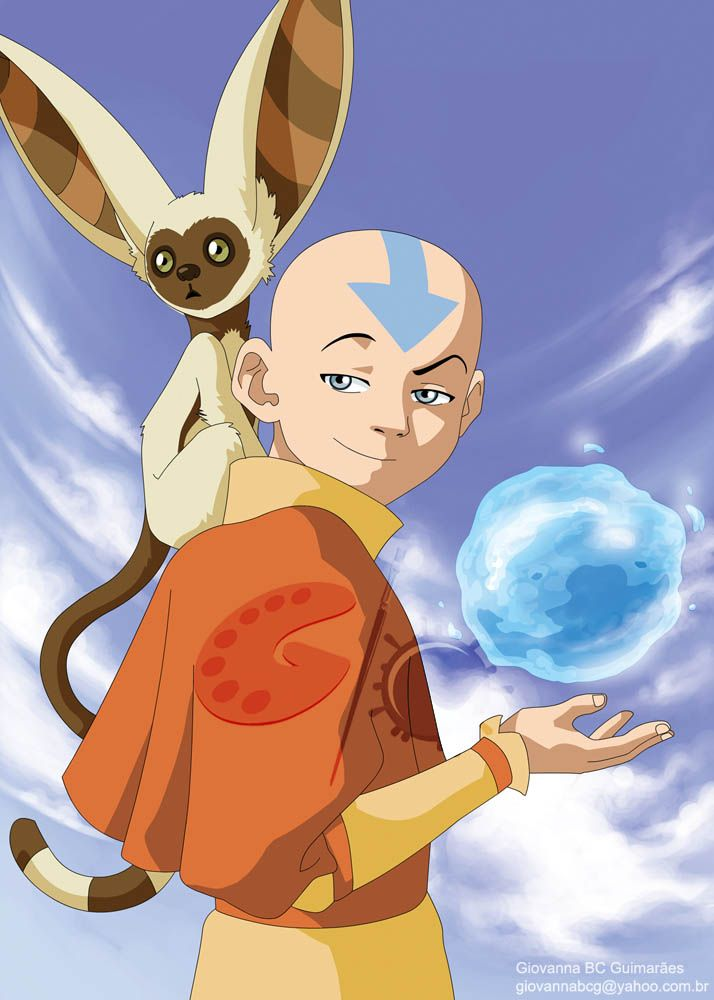 Avatar Card - Aang and Momo by ~giovannag on deviantART