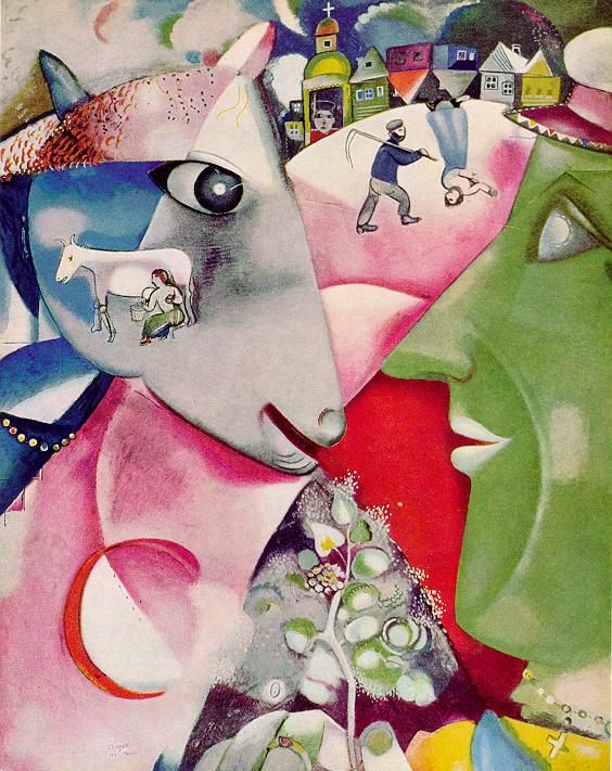 I and the Village, by Marc Chagall  Painted the year after Chagall came to Paris, I and the Village evokes his memories of his native Hasidic community outside Vitebsk. In the village, peasants and animals lived side by side, in a mutual dependence here signified by the line from peasant to cow, connecting their eyes. The peasant's flowering sprig, symbolically a tree of life, is the reward of their partnership. For Hasids, animals were also humanity's link to the universe...