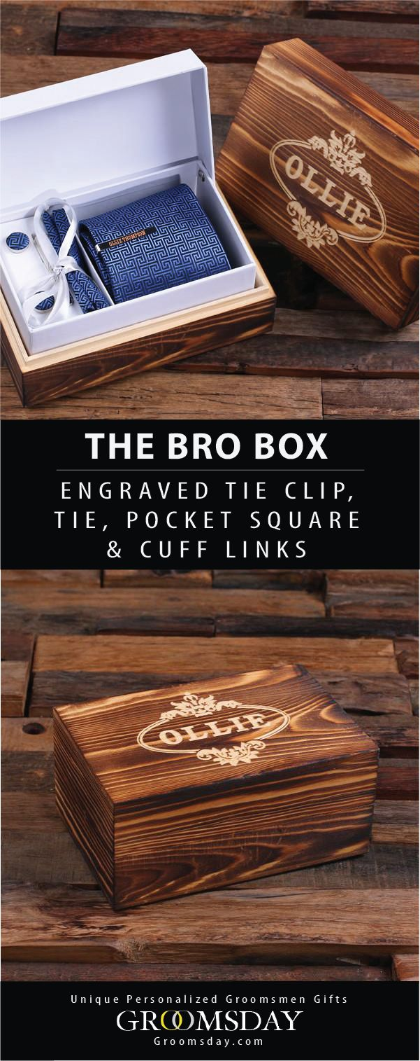 The ultimate Bro Set comes with a personalized tie clip, tie, pocket square, and matching cuff links all wrapped up in a beautifully engraved keepsake gift box. This is the perfect gift for your dapper groomsmen bros, and a very fashionable best man. Be sure to pin and follow for more fashionable groomsmen gifts || Groomsday.com