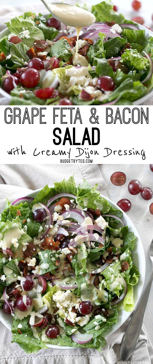 This Grape Feta and Bacon Salad is gourmet made simple and affordable. BudgetBytes.com