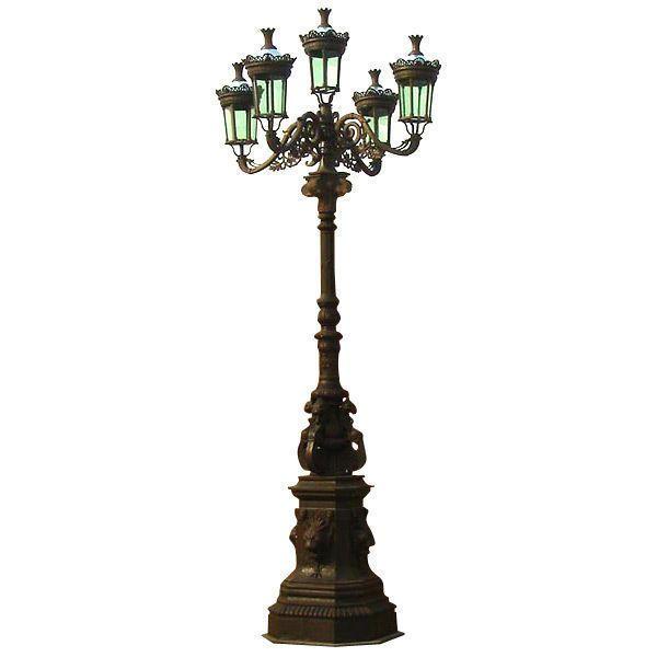 Magnificent Cat Iron Lion Masks Street Light Road Outdoor Lamp Post,16u0027FT  Tall | Outdoor Lamp Posts