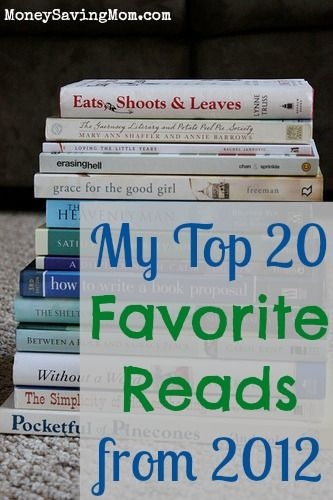 Another good book list...Top 20 Favorite Reads in 2012 from MoneySavingMom.com