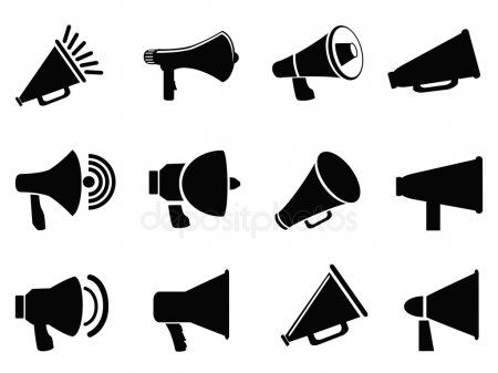 Megaphone Icons Stock Vector Affiliate Icons Megaphone Vector Stock Ad Illustration Artwork Drawing Illustration Black And White Background