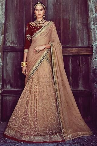Brown & Maroon Net 3 Piece Bridal Lehenga Choli Online ,Indian Dresses - 1