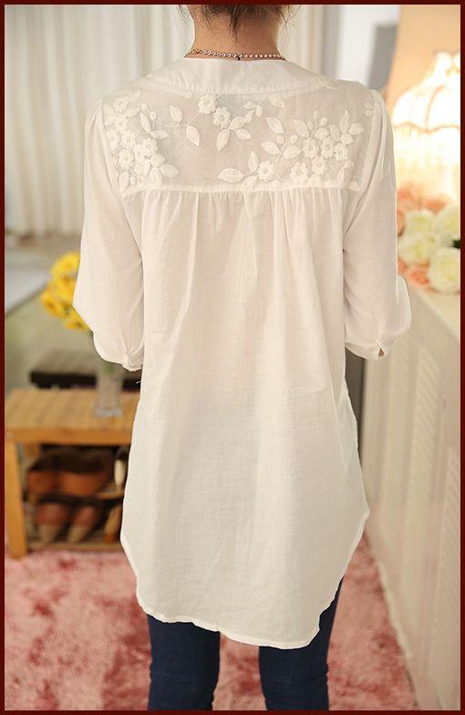 Aliexpress.com: Comprar Nuevo V cuello de Organza Bordada Camisa de Encaje Blanco Blusa Superior Más Tamaño Verano de Las Mujeres Coreanas Blusa Estampado de Flores Blusa 566F 25 de korean women blouse fiable proveedores en dsg Fashion Co Ltd's store