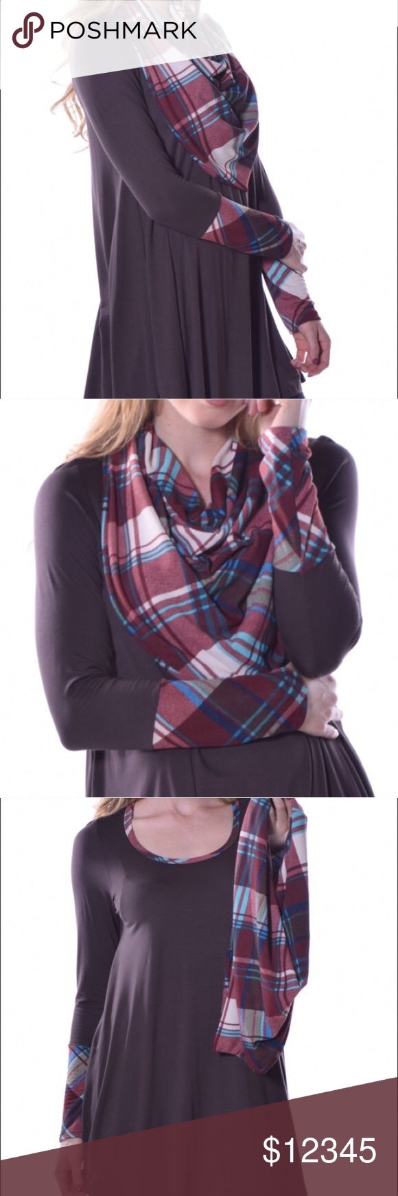🎉✨COMING SOON!!✨🎉 🎉THESE ARE ON THEIR WAY!!🎉 👍🏽If you want to be notified when these arrive please COMMENT a 👍🏽thumbs up emoji. ✨Plaid sleeve tunic + infinity scarf combo. ✨6 combos available. ✨Sizes: 1 small 2 medium 2 large 1x-large. ✨95% viscose 5 spandex. ✨Tunic: BROWN. ✨PRICE: Surprise😉 🚫❌NO TRADING. NO RESERVING.❌🚫 ✨Happy to answer any questions you have!🎉 Pastels Clothing Other
