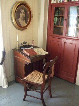 "Louisa May Alcott's ""Orchard"" Home - Concord, MA. This is the desk where Louisa wrote Little Women :)"