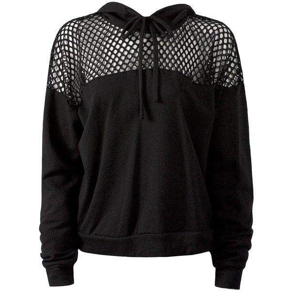 Sans Souci Balck fishnet panel hoodie ($29) ❤ liked on Polyvore featuring tops, hoodies, black, hoodie pullover, hoodies pullover, fishnet top, sweater pullover and crop tops