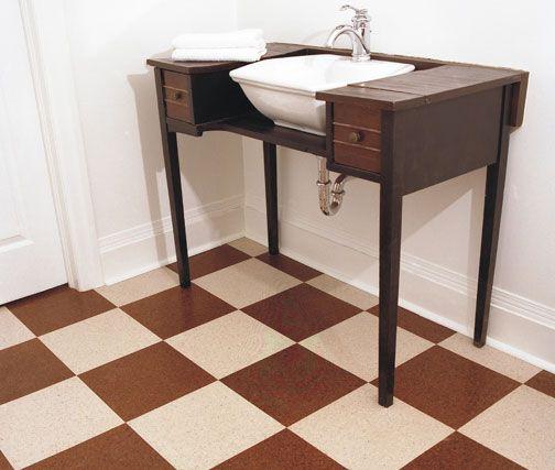 Checkered Cork Floor   Dark And Light Cork Floor Tiles.