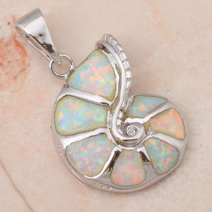 Fire Opal Sea Shell Pendant - Luna's Jewelry Warehouse - 3