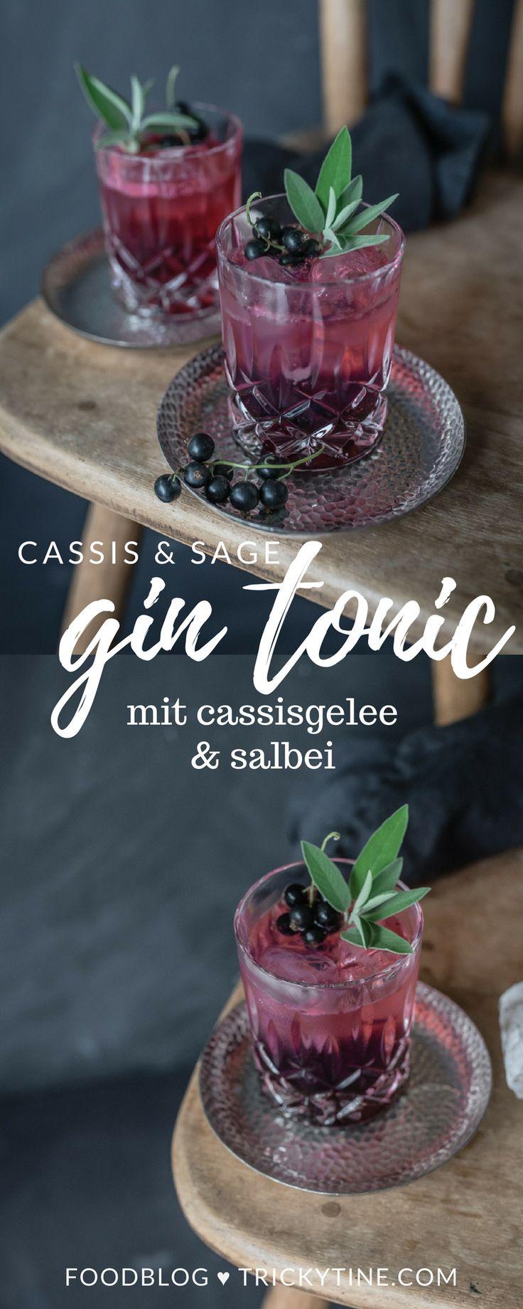 gin tonic mit cassisgelee und salbei ♥ trickytine.com #gin #mixology #trickytine #silvester #drinks #gintonic