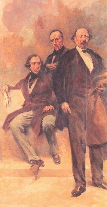 ALMEIDA GARRETT, ALEXANDRE HERCULANO E JOSÉ ESTEVÃO DE MAGALHÃES. Pormenor de óleo sobre tela, concluída em 1926 por Columbano Bordalo Pinheiro (1857-1929). Passos Perdidos, Assembleia da República.