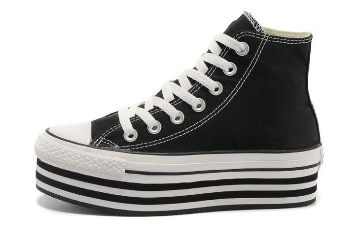 2013 Black Converse All Star Light Double Platform Chuck Taylor High Tops Canvas Women Sneakers
