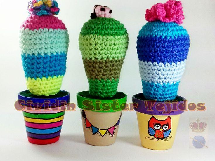 Amigurumi Cactus Tejido A Crochet Regalo Original : Best macetas pintadas a mano images flower pots