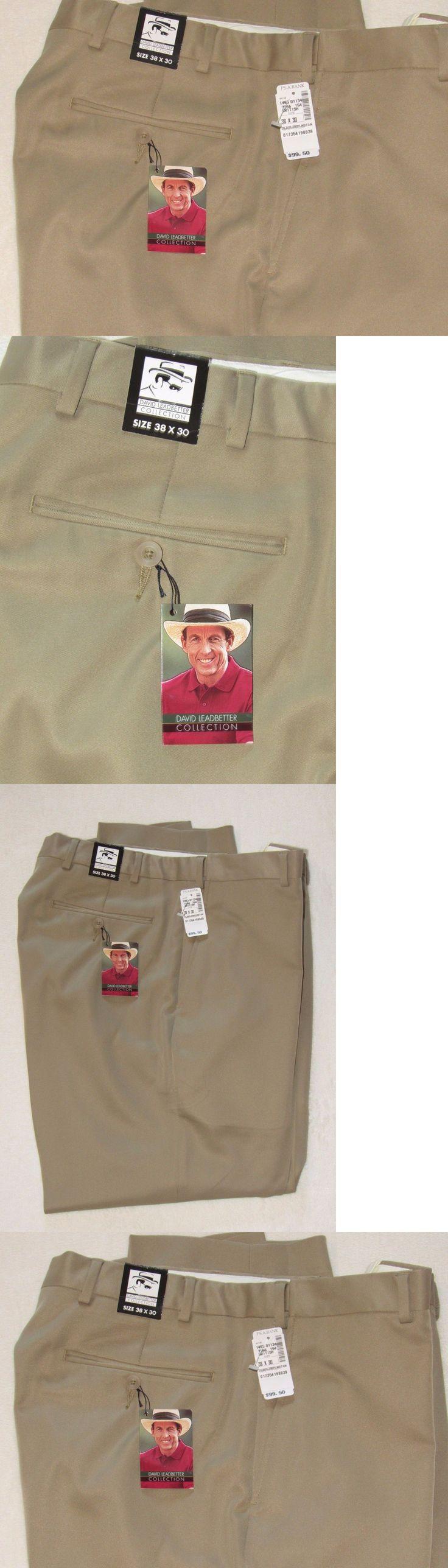 Pants 181137: Jos.A.Banks David Leadbetter Men S 38X30 Khaki Tan Golf Slacks Pants Nwt -> BUY IT NOW ONLY: $37.95 on eBay!