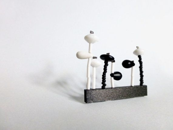 minimal geometric garden brooch with black & white by pergamondo