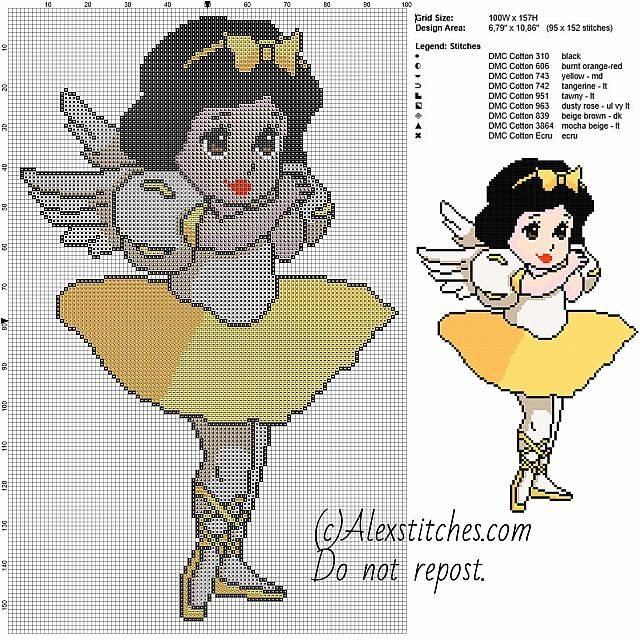Snow White dancer princess Disney free cross stitch pattern 100x157 9 colors