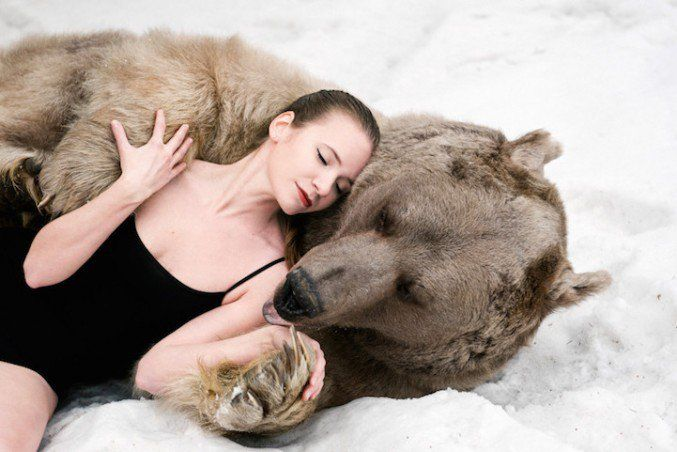 Russian Models Pose With A Real Bear For An Anti-Hunting Campaign   123 Inspiration