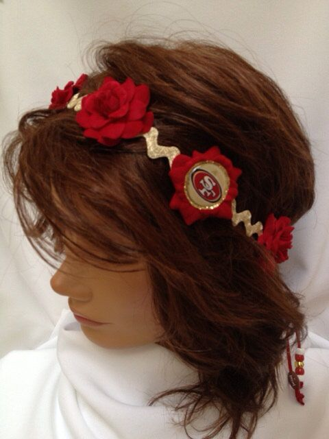 SF Niners metallic champaign gold headband by BaytiqueCreations, $20.00