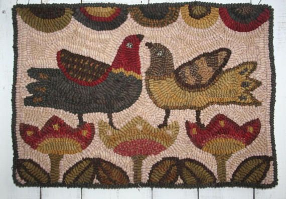 my latest primitive hooked rug maggiesfarm1846