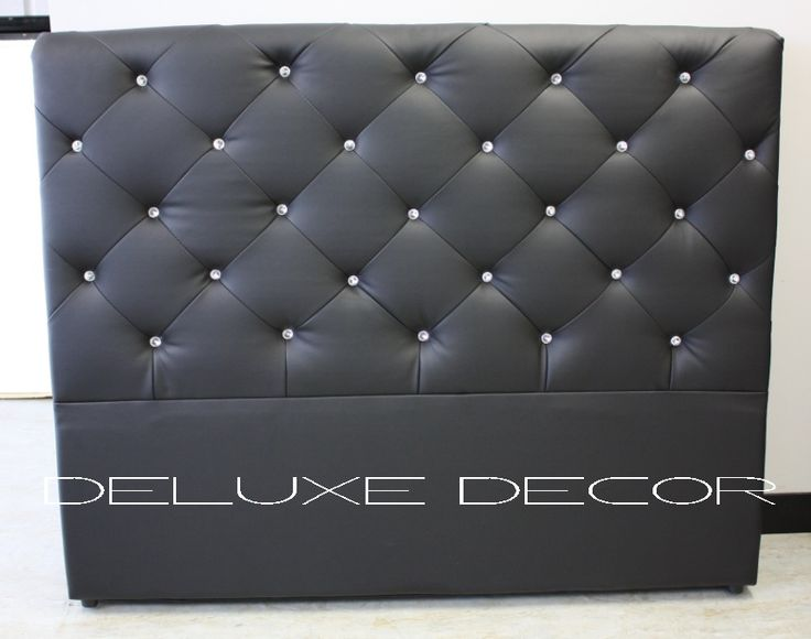 Monique Crystal Buttoned Black PU Leather Bedhead Headboard http://deluxedecor.com.au/products-page/monique-collection/