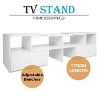 175cm Adjustable Lowline TV Stand With Cabinet Drawer-White