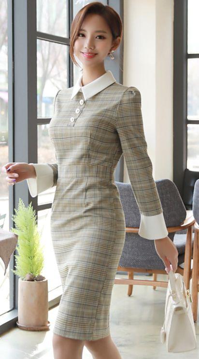 StyleOnme_Pearl Button Glen Check Collared Dress #check #collared #dress #dailylook #koreanfashion #kstyle #kfashion #springtrend #seoul #feminine #elegant