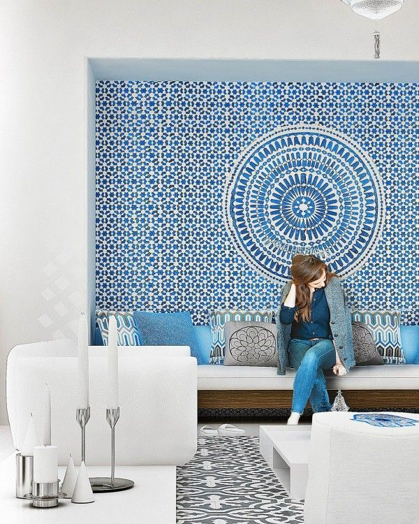 Beautiful Morrocan inspired blue and white wallpaper   great in an  all white room. 17 Best images about Wallpaper Inspiration on Pinterest   Cole and