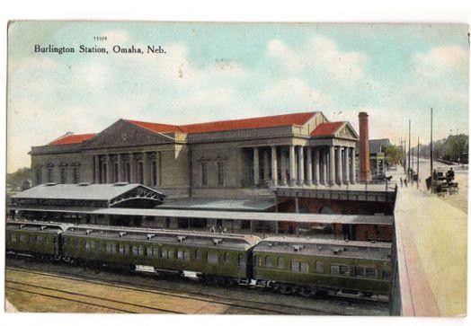 Vintage Omaha Nebraska Burlington Train Station Postcard 1900s Railroad Depot Post Card