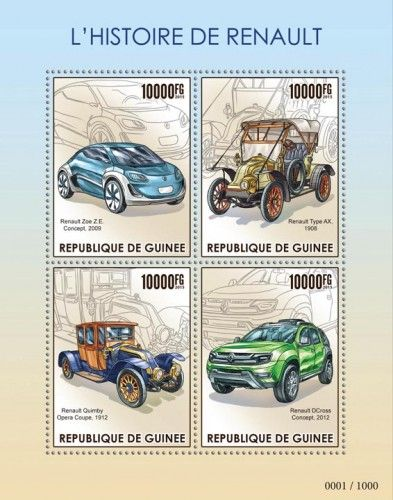 GU15419a History of Renault (Renault Zoe Z.E. Concept, 2009, Renault Quimby Opera Coupe, 1912, Renault Type AX, 1908, Renault DCross Concept, 2012)