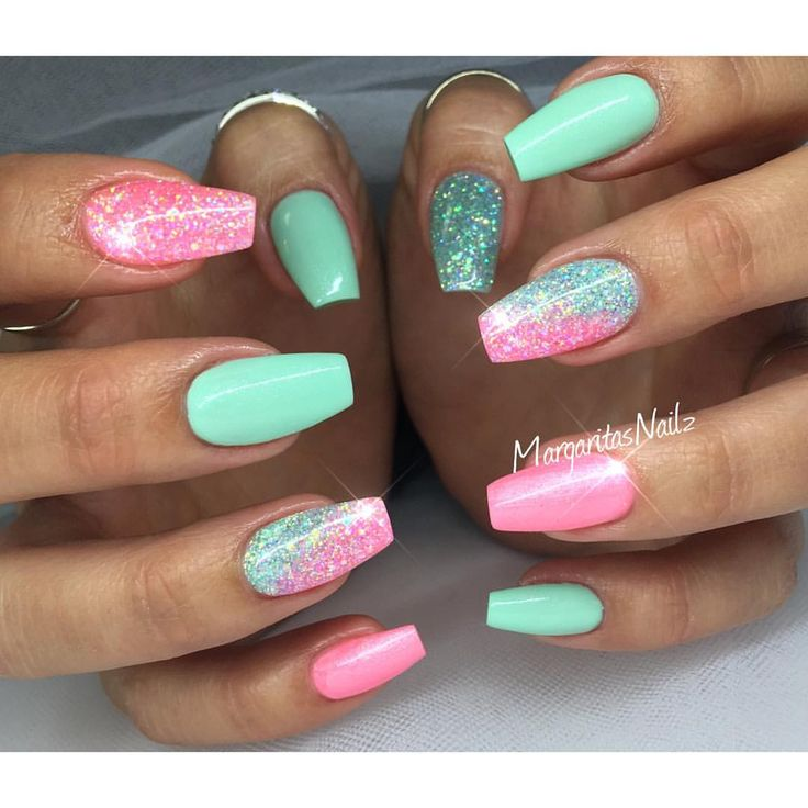 25 beautiful mint green nails ideas on pinterest mint acrylic pink and green glitter nailz prinsesfo Gallery