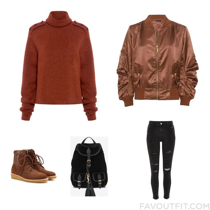 Style Set Including Tibi Sweater Brown Jacket River Island Jeans And Ankle Boots From October 2016 #outfit #look