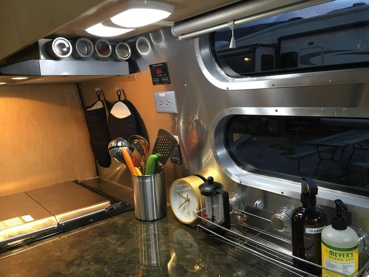 Tips for organizing your Airstream kitchen. Flying Cloud 30 foot Bunk. Where to put your pots and pans in an RV?