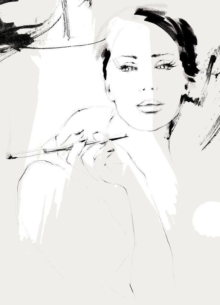 Fashion illustration by Charlotta Larsdotter: Smoking lady