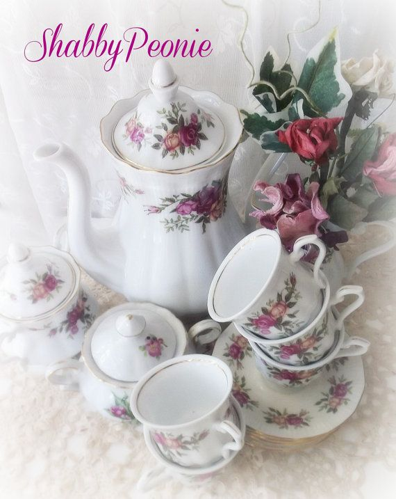 Porcelain Tea Set. Shabby Rose Florals Matching by ShabbyPeonie
