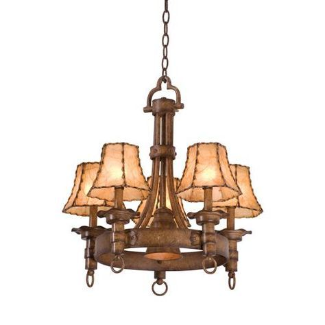 Americana 5 Light Wrought Iron Chandelier, Rustic Chandeliers at Rocky Mountain Cabin Decor
