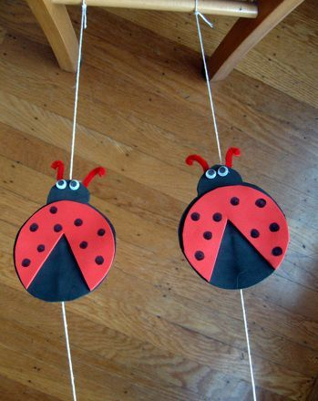 Ladybug Tightrope Racers - a fun way to exercise Sis's lungs and getting some math and craft time in as well!