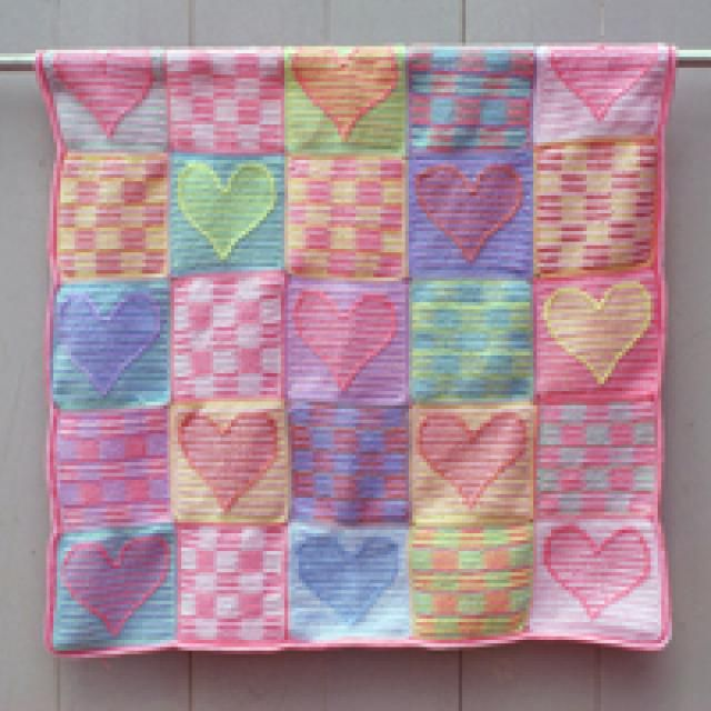 Free Crochet Patterns for Baby Afghans, Blankets, Blocks, and Squares: Heart Sampler Patchwork Baby Afghan