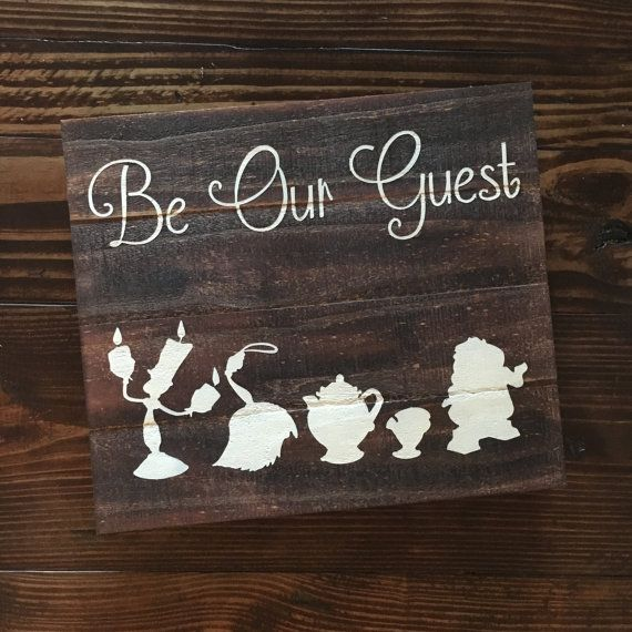 ||BE OUR GUEST WOOD SIGN|| This sign measures approximately 16x14 All signs are cut, stained and painted by my husband and I. Each sign is painted with acrylic paint on reclaimed wood which has natural imperfections (nicks, wood knots, etc.). Every piece of wood takes stain and paint different which means each sign is unique and no two signs will be exactly alike. If you would like a different color, please leave a message in the notes section when checking out. Each sign hangs from the…